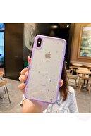 Kılıfsiparis Iphone X - Xs Kenarı Lila Renkli Simli Darbe Önleyici Silikon Kılıf