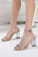 Miss Nysa Kadın Şeffaf Taşlı Stiletto Kalın Topuklu Ayakkabı Nude