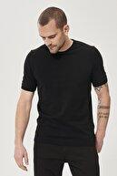 Altınyıldız Classics Erkek Siyah 360 Derece Her Yöne Esneyen Slim Fit %100 Koton Triko Tişört