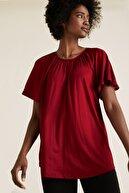 Marks & Spencer Kadın Kırmızı Yuvarlak Yaka Fırfırlı Kollu Bluz T41007820