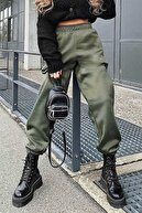Madmext Kadın Haki Paça Lastikli Oversize Kadın Eşofman MG324