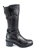 GÖNDERİ(R) Gön Hakiki Deri Siyah Tokalı Lastikli Diz Altı Topuklu Fermuarlı Günlük Kadın Çizme 44560