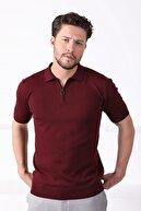 Ferraro Erkek Bordo Polo Yaka Fermuarlı Pamuk Triko T-Shirt