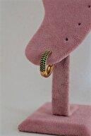 By Meriç Kadın Küçük Boy Yeşil Zirkon Taşlı Altın Kaplama Halka Küpe