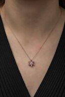 NEREZE Kadın Pembe 925 Ayar Lotus Çiçeği Gümüş Kolye