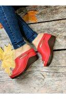 ORÇUN SHOES Kadın Kırmızı Topuklu Ortopedik Günlük Terlik