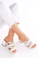 Marjin Kadın Beyaz Topuklu Terlik Orno