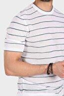 Ferraro Erkek Çizgili Delikli Bisiklet Yaka Triko T Shirt - Beyaz Brokoli