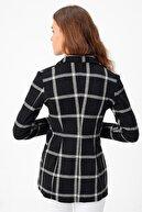 Jument Kadın Siyah Desenli Uzun Kol Tek Düğme Kaşe Kışlık Ceket