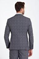 Hatemoğlu Erkek Lacivert Kareli Yelekli Kombin Takım Elbise