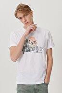 Lee Erkek Beyaz Regular Fit Bisiklet Yaka T-Shirt