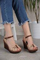 Ccway Kadın Nude Cilt Çapraz Boğumlu Dolgu Topuklu Sandalet