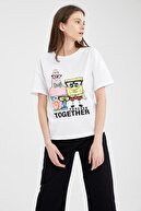 Defacto Kadın Beyaz Spongebob Lisanslı Relax Fit Kısa Kollu Tişört