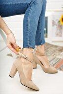 Nirvana ayakkabı Kadın Ten Süet Yüksek Topuklu Baletli Ayakkabı