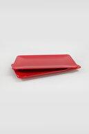 Keramika Kırmızı Kayık Tabak 33x21cm 2 Adet