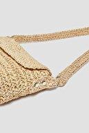 Pull & Bear Kadın Bej Örgülü Paperbag Model Kol Çantası