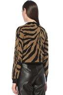 Network Kadın Regular Fit Siyah Zebra Jakarlı Kazak 1077236
