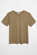 GRIMELANGE HANNAH Kadın Haki Yuvarlak Yakalı Basic T-Shirt