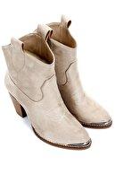 GÖNDERİ(R) Gön Vizon Süet Fermuarsız Western Kovboy Sivri Burun Günlük Kadın Bot 32504