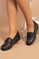 MelikaWalker Kadın Siyah Yapışkan Cırtlı Genç Anne Comfort Kaucuk Kaymaz Taban Ayakkabı