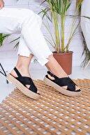 Moda Değirmeni Kadın Siyah Süet Sandalet Md1026-123-0001