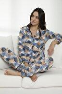 Siyah İnci Kadın Çok Renkli Pamuklu Likralı Düğmeli Biyeli Pijama Takım
