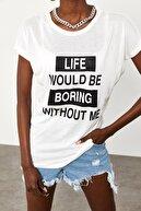 Xena Kadın Beyaz Yumuşak Dokulu Esnek Örme Baskılı T-Shirt 1KZK1-11562-01