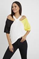 Cool & Sexy Kadın Ekru Omuzları Açık Bloklu Bluz BK1121