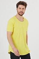 Tarz Cool Erkek Sarı Kısa Kol Salaş T-shirt