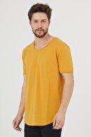 Tarz Cool Erkek Koyu Hardal Kısa Kol  Salaş T-shirt