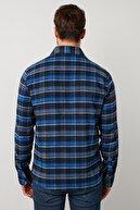 Buratti Erkek İndigo Ekoseli Uzun Kollu Oduncu Gömlek  5910080
