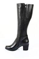 GÖNDERİ(R) Gön Hakiki Deri Siyah Tokalı Topuklu Fermuarlı Günlük Kadın Çizme 46501