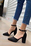 MODAADAM Kadın Siyah Celar Süet Topuklu Ayakkabı