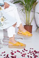 Moda Değirmeni Kadın Hardal Süet Sandalet Md1026-123-0001