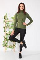 AYNADİ Kadın Haki Yeşili Uzun Kollu Tam Boğazlı Body