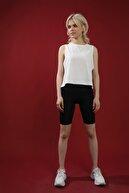 Grenj Fashion Kadın Beyaz Pamuk Bisiklet Yaka Crop Kolsuz Örme Tshirt