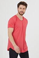 Tarz Cool Erkek Koyu Nar Kısa Kol Salaş T-shirt
