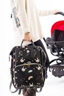 Baby Balloon Bag Siyah Tavşan Anne Bebek Bakım Sırt Çantası