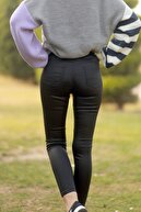 Unique Kadın Siyah Deri Görünümlü Pantolon