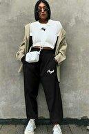 Madmext Kadın Siyah Baskılı Eşofman Mg311