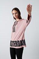 Lela Kadın Pembe Baskılı Kapüşonlu Sweatshirt