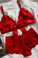 Imoda Kadın Kırmızı Dantelli Kurdelalı Sütyen Külot Takımı