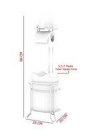 Teknotel Yutan Kapak Çöp Kova Ve Tuvalet Kağıtlık Krom+gri Mg098