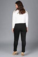 Gül Moda Kadın Siyah Likralı Mom Beli Lastikli Yüksek Bel Pantolon G049-1