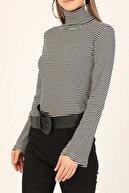 Nare Giyim Kadın Siyah Çizgili Boğazlı Pamuklu Bluz