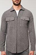 Buratti Erkek Gri Çift Cepli Fermuarlı Slim Fit Kışlık Gömlek Cf21w112925