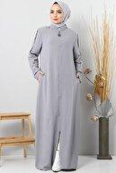 Tesettür Dünyası Büyük Beden Kolları Düğmeli Ayrobin Elbise Tsd8889 Gri