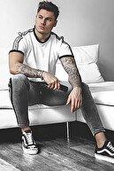 Madmext Omuz Ekose Detaylı Beyaz T-Shirt 4101