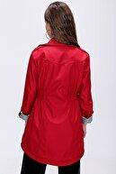 Bigdart Kadın Kırmızı Beli Büzgülü Cep Detaylı Trençkot 10322