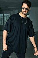 Sateen Men Erkek Siyah B Yaka Likralı T-Shirt